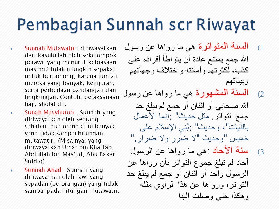  Sunnah Mutawatir : diriwayatkan dari Rasulullah oleh sekelompok perawi yang menurut kebiasaan masing2 tidak mungkin sepakat untuk berbohong, karena