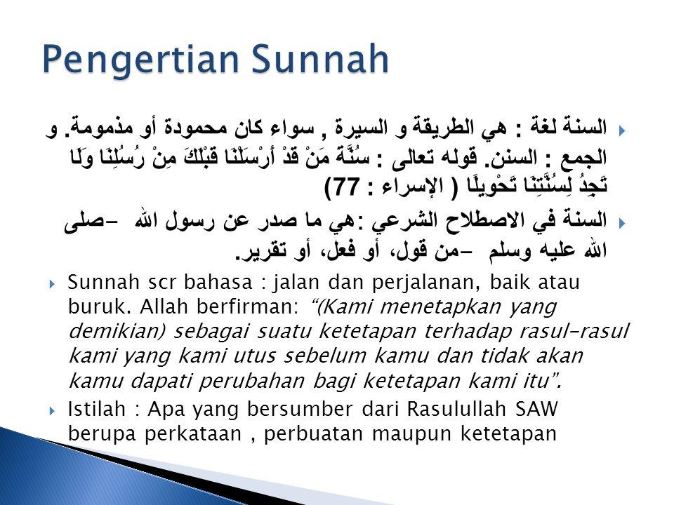  Qouliyah : Yang berupa Perkataan Nabi yang disabdakan sesuai dengan tujuan dan kondisi.