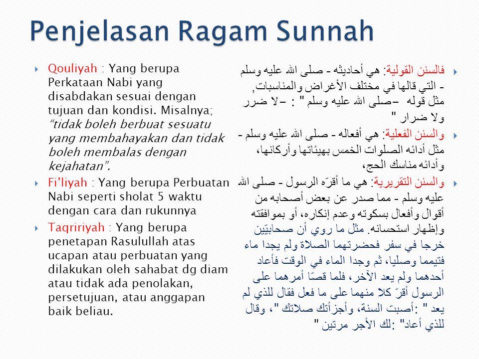 """ Qouliyah : Yang berupa Perkataan Nabi yang disabdakan sesuai dengan tujuan dan kondisi. Misalnya; """"tidak boleh berbuat sesuatu yang membahayakan dan"""