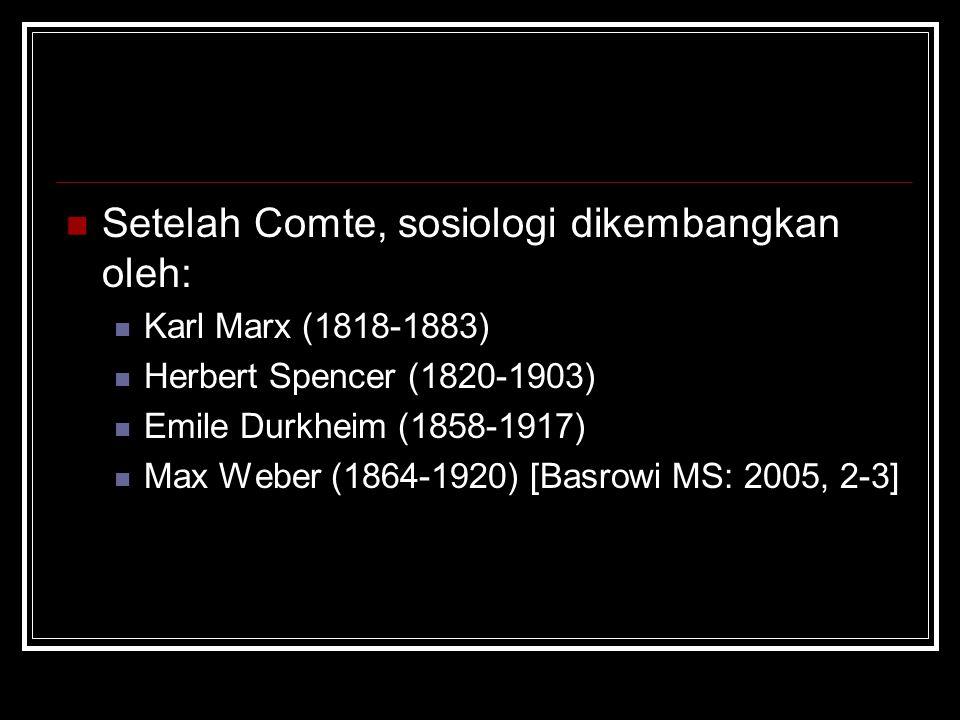 Setelah Comte, sosiologi dikembangkan oleh: Karl Marx (1818-1883) Herbert Spencer (1820-1903) Emile Durkheim (1858-1917) Max Weber (1864-1920) [Basrow