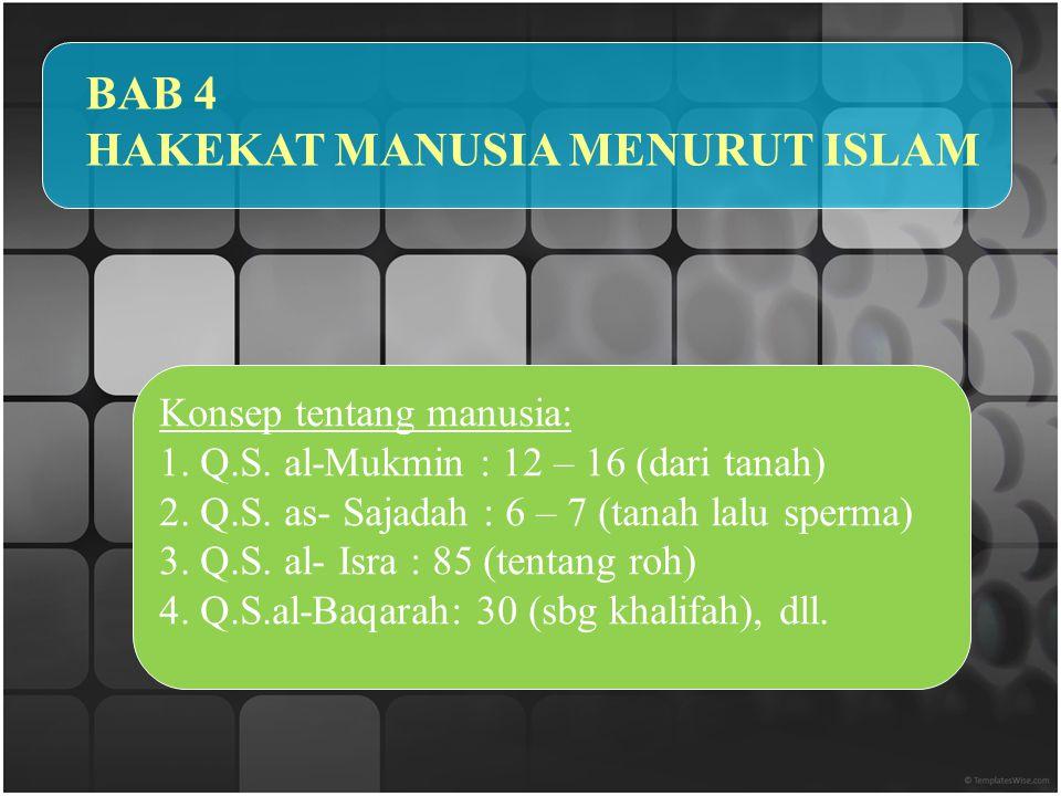 BAB 4 HAKEKAT MANUSIA MENURUT ISLAM Konsep tentang manusia: 1.