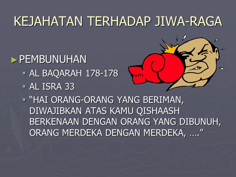 "KEJAHATAN TERHADAP JIWA-RAGA ► PEMBUNUHAN  AL BAQARAH 178-178  AL ISRA 33  ""HAI ORANG-ORANG YANG BERIMAN, DIWAJIBKAN ATAS KAMU QISHAASH BERKENAAN D"