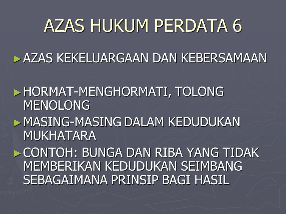 AZAS HUKUM PERDATA 6 ► AZAS KEKELUARGAAN DAN KEBERSAMAAN ► HORMAT-MENGHORMATI, TOLONG MENOLONG ► MASING-MASING DALAM KEDUDUKAN MUKHATARA ► CONTOH: BUN