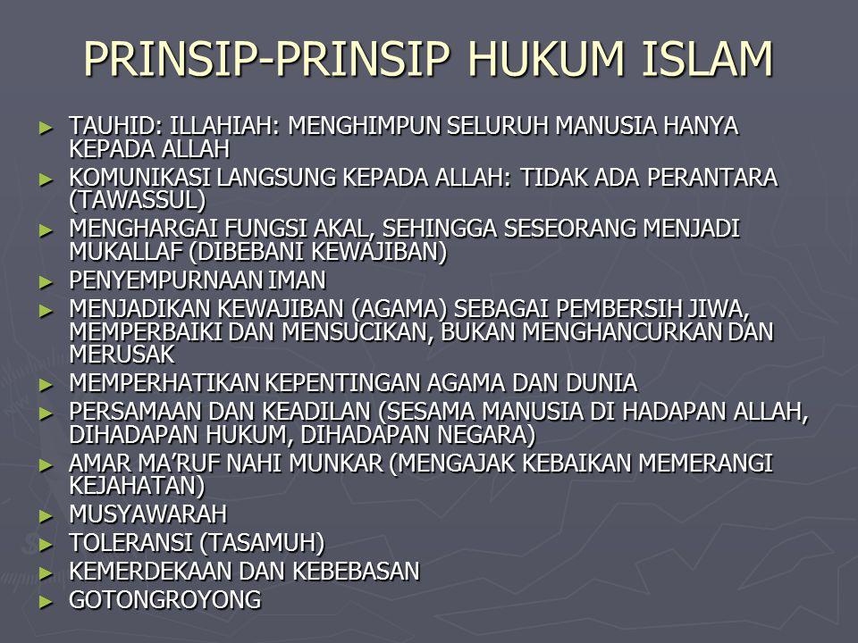 PRINSIP-PRINSIP HUKUM ISLAM ► TAUHID: ILLAHIAH: MENGHIMPUN SELURUH MANUSIA HANYA KEPADA ALLAH ► KOMUNIKASI LANGSUNG KEPADA ALLAH: TIDAK ADA PERANTARA