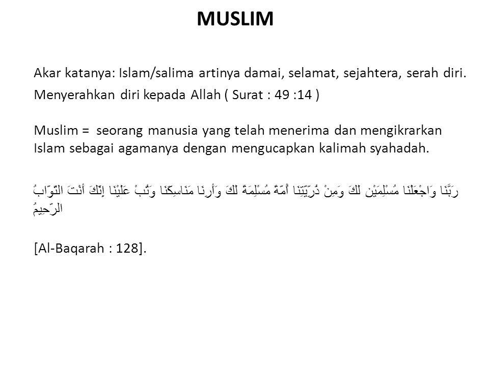 Akar katanya: Islam/salima artinya damai, selamat, sejahtera, serah diri. Menyerahkan diri kepada Allah ( Surat : 49 :14 ) Muslim = seorang manusia ya