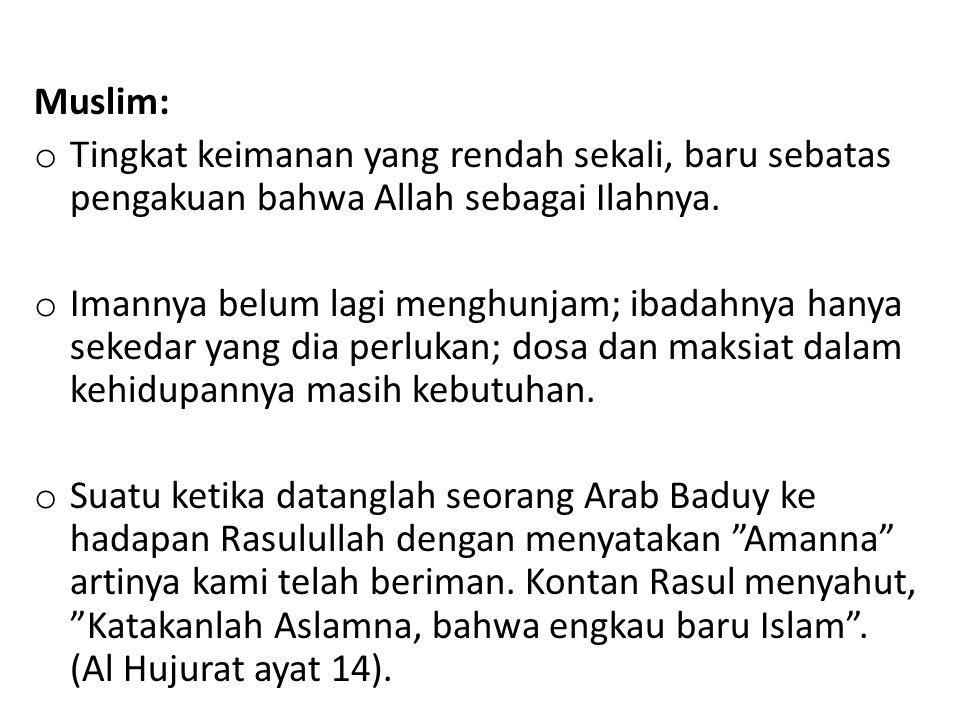 Muslim: o Tingkat keimanan yang rendah sekali, baru sebatas pengakuan bahwa Allah sebagai Ilahnya. o Imannya belum lagi menghunjam; ibadahnya hanya se
