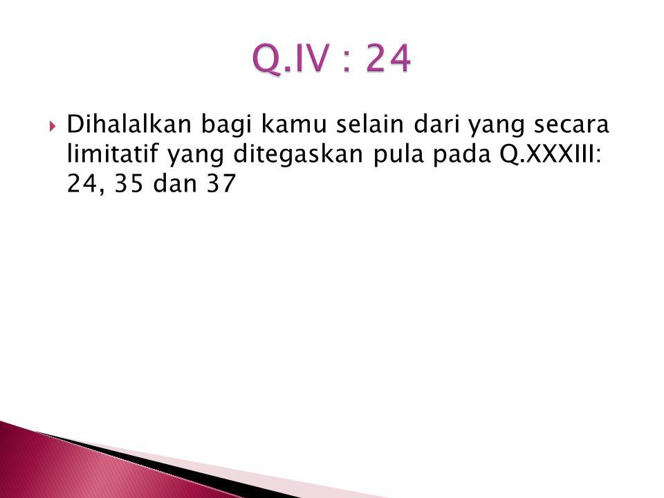 Dihalalkan bagi kamu selain dari yang secara limitatif yang ditegaskan pula pada Q.XXXIII: 24, 35 dan 37