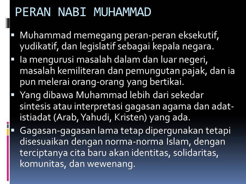  Tidak lama setelah Muhammad menetap di Madinah, atau menurut sementara ahli sejarah belum cukup dua tahun dari kedatangan Muhammad di kota itu, beliau mempermaklumkan suatu piagam yang mengatur kehidupan dan hubungan antara komunitas-komunitas yang merupakan komponen-komponen masyarakat yang majemuk di Madinah.