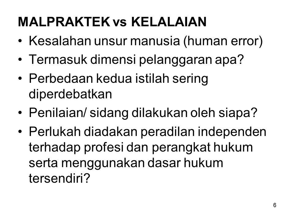 MALPRAKTEK vs KELALAIAN Kesalahan unsur manusia (human error) Termasuk dimensi pelanggaran apa? Perbedaan kedua istilah sering diperdebatkan Penilaian