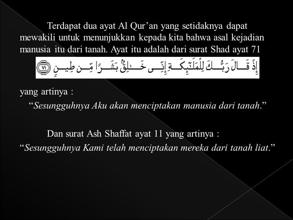 Terdapat dua ayat Al Qur'an yang setidaknya dapat mewakili untuk menunjukkan kepada kita bahwa asal kejadian manusia itu dari tanah. Ayat itu adalah d
