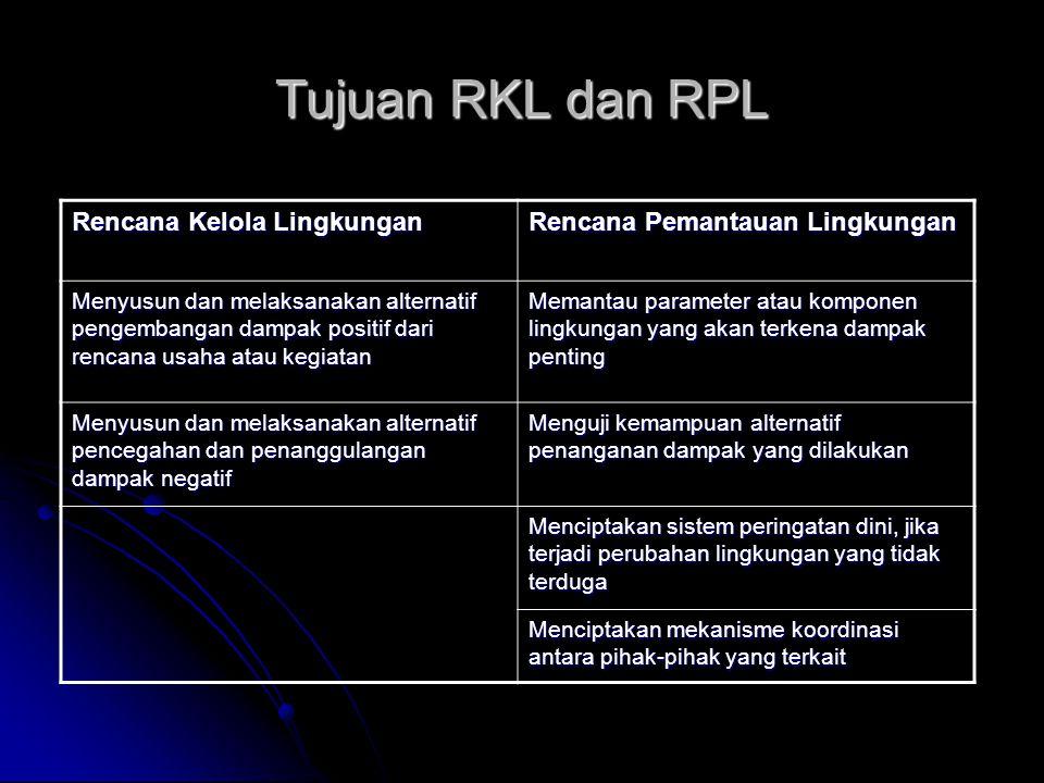 Kegunaan RKL dan RPL Rencana Kelola Lingkungan Rencana Pemantauan Lingkungan Bagi pemrakarsa sebagai pedoman dalam pelaksanaan pengelolaan LH Untuk mengetahui efektivitas sistem pengelolaan lingkungan yang telah dilakukan pemrakarsa Bagi instansi terkait adalah untuk mengetahui tingkat kepedulian pemrakarsa dalam penanganan lingkungan sesuai peraturan perundang- undangan yang ada Untuk mengetahui kondisi lingkungan pada setiap periode tertentu yang dapat dijadikan dasar dalam menentukan tindakan pengelolaan lebih lanjut.