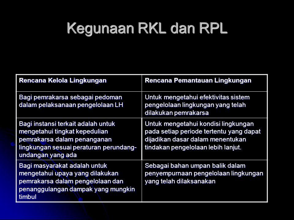 Kegunaan RKL dan RPL Rencana Kelola Lingkungan Rencana Pemantauan Lingkungan Bagi pemrakarsa sebagai pedoman dalam pelaksanaan pengelolaan LH Untuk me