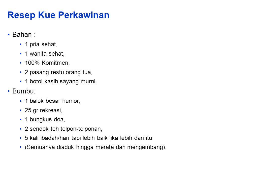 Resep Kue Perkawinan Bahan : 1 pria sehat, 1 wanita sehat, 100% Komitmen, 2 pasang restu orang tua, 1 botol kasih sayang murni.