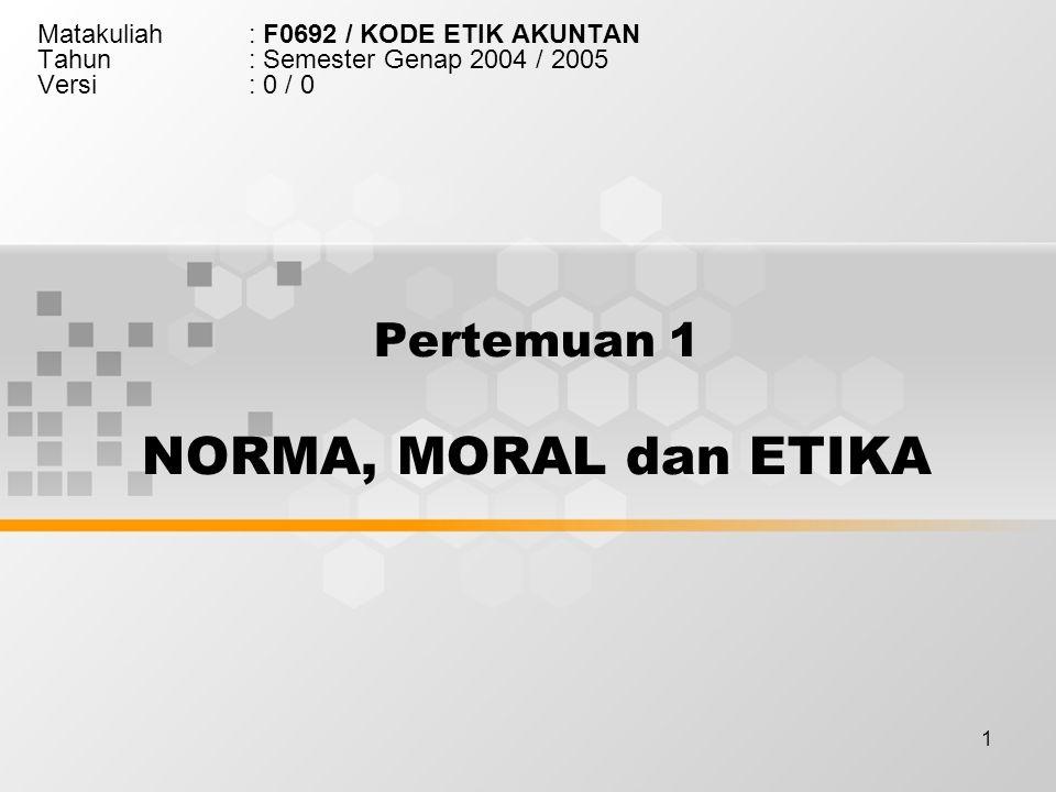 1 Pertemuan 1 NORMA, MORAL dan ETIKA Matakuliah: F0692 / KODE ETIK AKUNTAN Tahun: Semester Genap 2004 / 2005 Versi: 0 / 0