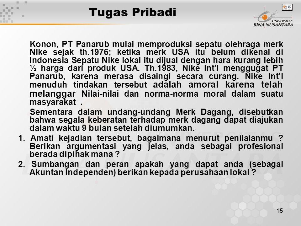 15 Tugas Pribadi Konon, PT Panarub mulai memproduksi sepatu olehraga merk NIke sejak th.1976; ketika merk USA itu belum dikenal di Indonesia Sepatu Nike lokal itu dijual dengan hara kurang lebih ½ harga dari produk USA.