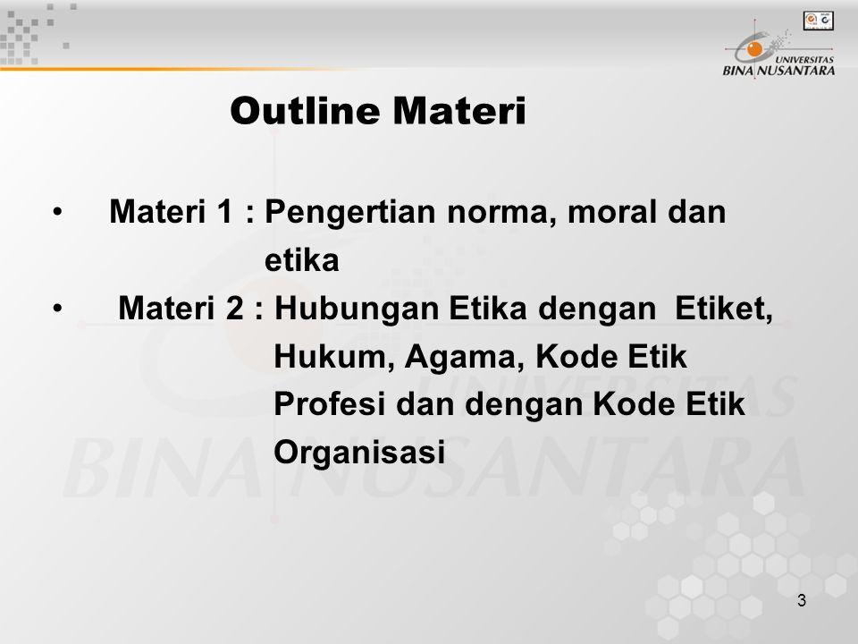 3 Outline Materi Materi 1 : Pengertian norma, moral dan etika Materi 2 : Hubungan Etika dengan Etiket, Hukum, Agama, Kode Etik Profesi dan dengan Kode Etik Organisasi