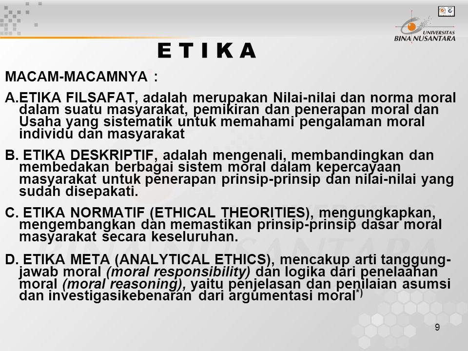 9 E T I K A MACAM-MACAMNYA : A.ETIKA FILSAFAT, adalah merupakan Nilai-nilai dan norma moral dalam suatu masyarakat, pemikiran dan penerapan moral dan Usaha yang sistematik untuk memahami pengalaman moral individu dan masyarakat B.
