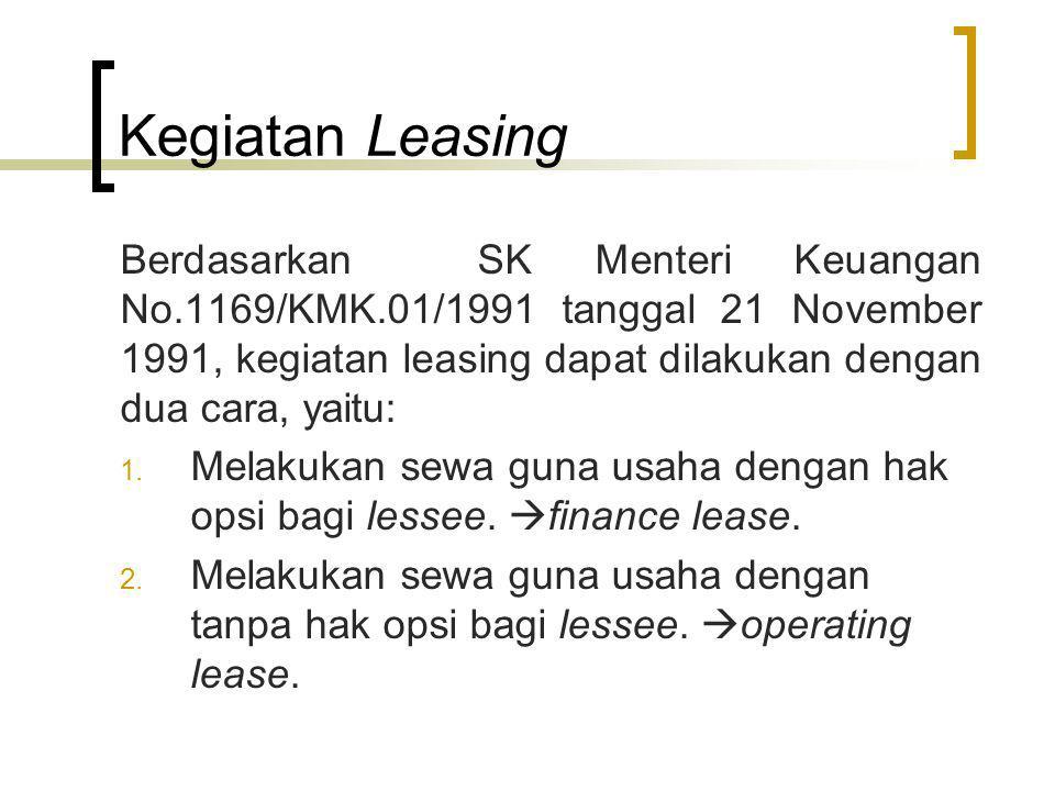 Kegiatan Leasing Berdasarkan SK Menteri Keuangan No.1169/KMK.01/1991 tanggal 21 November 1991, kegiatan leasing dapat dilakukan dengan dua cara, yaitu