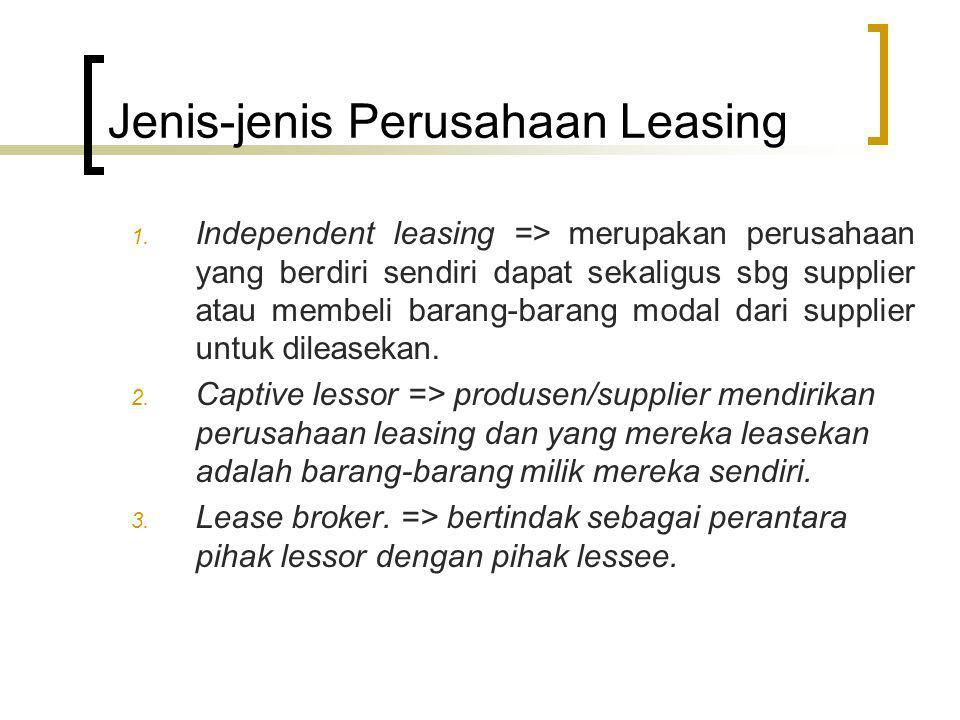 Jenis-jenis Perusahaan Leasing 1. Independent leasing => merupakan perusahaan yang berdiri sendiri dapat sekaligus sbg supplier atau membeli barang-ba