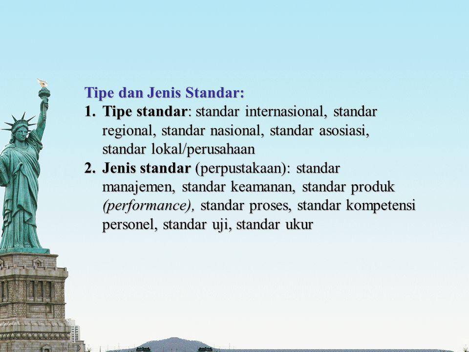 Tipe dan Jenis Standar: 1.Tipe standar: standar internasional, standar regional, standar nasional, standar asosiasi, standar lokal/perusahaan 2.Jenis