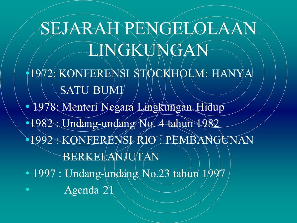 SEJARAH PENGELOLAAN LINGKUNGAN 1972: KONFERENSI STOCKHOLM: HANYA SATU BUMI 1978: Menteri Negara Lingkungan Hidup 1982 : Undang-undang No.