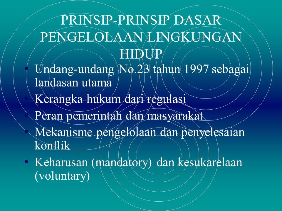 PRINSIP-PRINSIP DASAR PENGELOLAAN LINGKUNGAN HIDUP Undang-undang No.23 tahun 1997 sebagai landasan utama Kerangka hukum dari regulasi Peran pemerintah dan masyarakat Mekanisme pengelolaan dan penyelesaian konflik Keharusan (mandatory) dan kesukarelaan (voluntary)