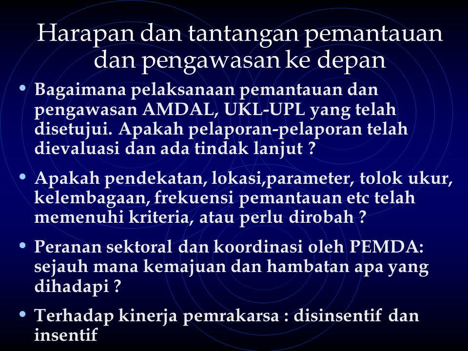 Harapan dan tantangan pemantauan dan pengawasan ke depan Bagaimana pelaksanaan pemantauan dan pengawasan AMDAL, UKL-UPL yang telah disetujui.