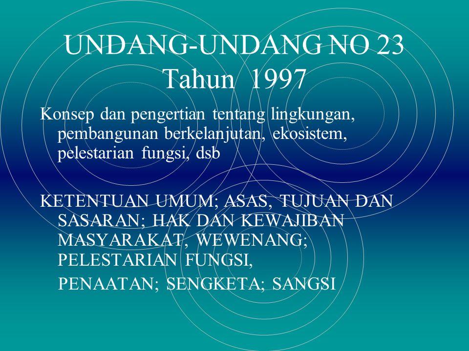 UNDANG-UNDANG NO 23 Tahun 1997 Konsep dan pengertian tentang lingkungan, pembangunan berkelanjutan, ekosistem, pelestarian fungsi, dsb KETENTUAN UMUM; ASAS, TUJUAN DAN SASARAN; HAK DAN KEWAJIBAN MASYARAKAT, WEWENANG; PELESTARIAN FUNGSI, PENAATAN; SENGKETA; SANGSI