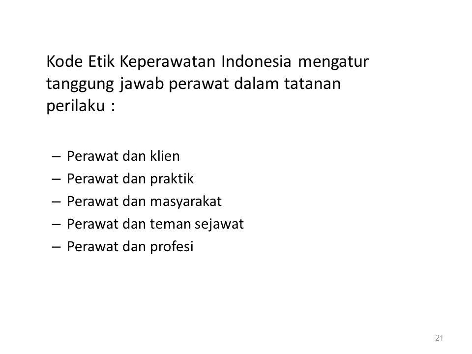 Kode Etik Keperawatan Indonesia mengatur tanggung jawab perawat dalam tatanan perilaku : – Perawat dan klien – Perawat dan praktik – Perawat dan masya