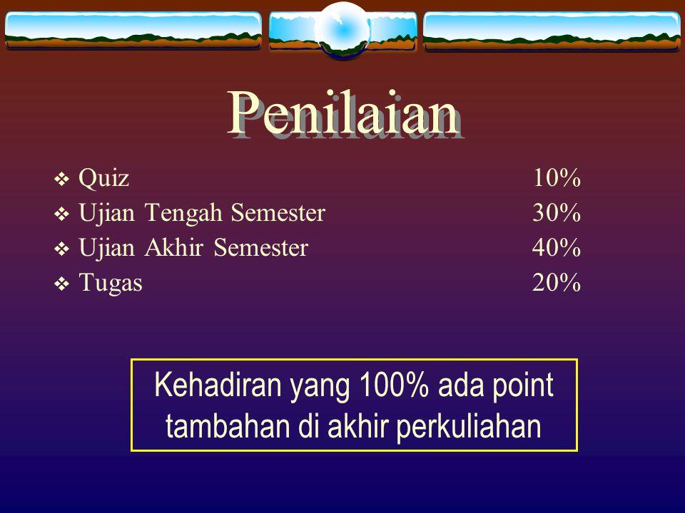 Penilaian  Quiz10%  Ujian Tengah Semester 30%  Ujian Akhir Semester40%  Tugas20% Kehadiran yang 100% ada point tambahan di akhir perkuliahan