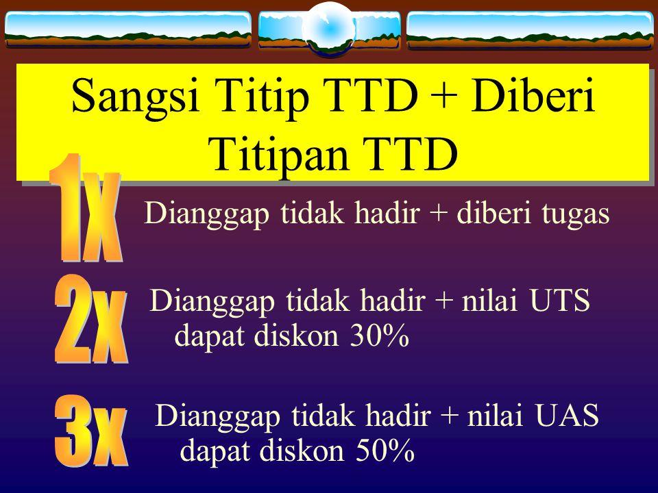 Sangsi Titip TTD + Diberi Titipan TTD Dianggap tidak hadir + diberi tugas Dianggap tidak hadir + nilai UTS dapat diskon 30% Dianggap tidak hadir + nilai UAS dapat diskon 50%