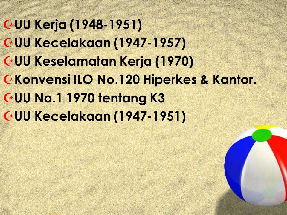Z UU Kerja (1948-1951) Z UU Kecelakaan (1947-1957) Z UU Keselamatan Kerja (1970) Z Konvensi ILO No.120 Hiperkes & Kantor.