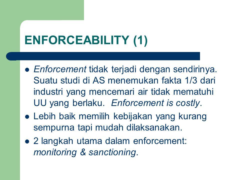 ENFORCEABILITY (1) Enforcement tidak terjadi dengan sendirinya.
