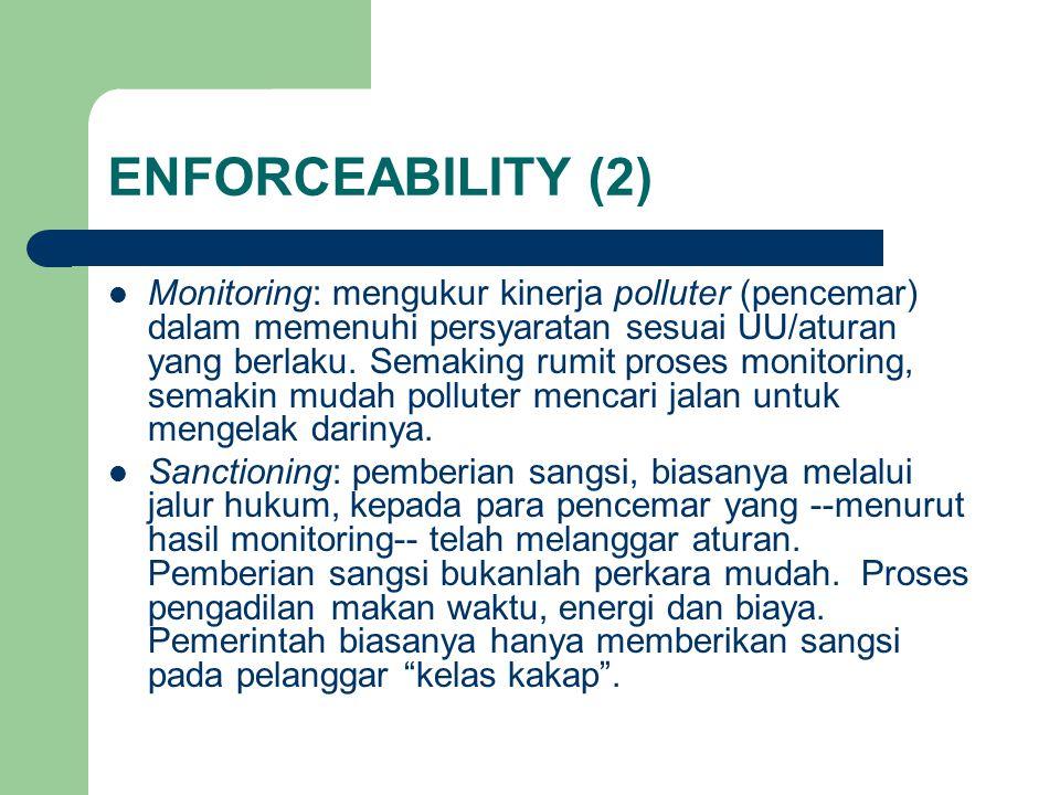 ENFORCEABILITY (2) Monitoring: mengukur kinerja polluter (pencemar) dalam memenuhi persyaratan sesuai UU/aturan yang berlaku.