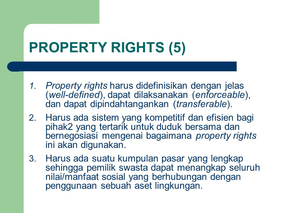 PROPERTY RIGHTS (5) 1.
