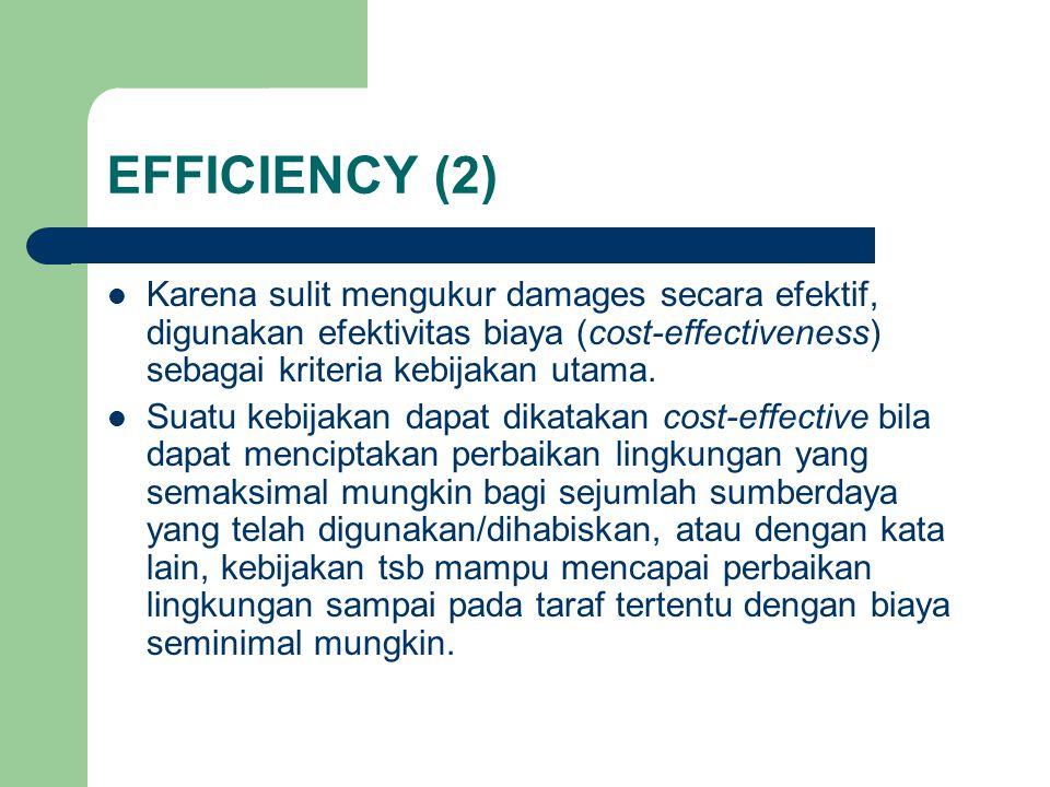 EFFICIENCY (2) Karena sulit mengukur damages secara efektif, digunakan efektivitas biaya (cost-effectiveness) sebagai kriteria kebijakan utama.