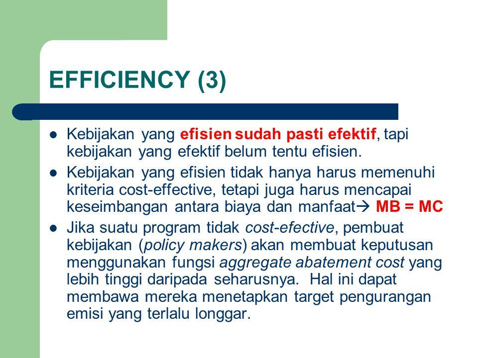 EFFICIENCY (3) Kebijakan yang efisien sudah pasti efektif, tapi kebijakan yang efektif belum tentu efisien.