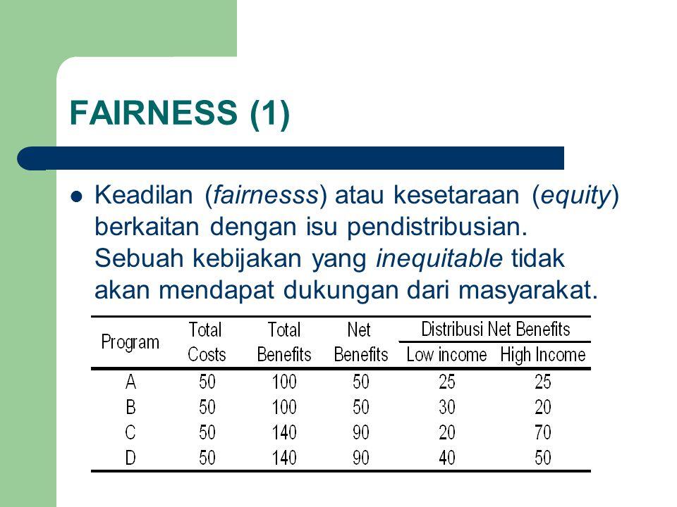 FAIRNESS (1) Keadilan (fairnesss) atau kesetaraan (equity) berkaitan dengan isu pendistribusian.