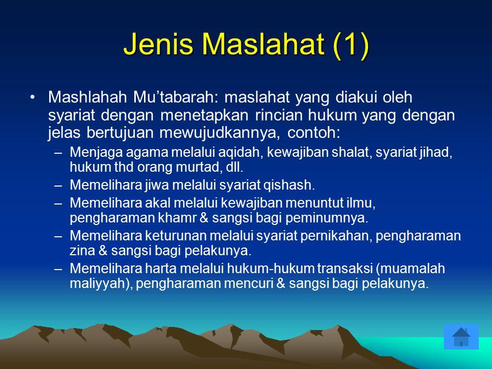 Jenis Maslahat (1) Mashlahah Mu'tabarah: maslahat yang diakui oleh syariat dengan menetapkan rincian hukum yang dengan jelas bertujuan mewujudkannya,