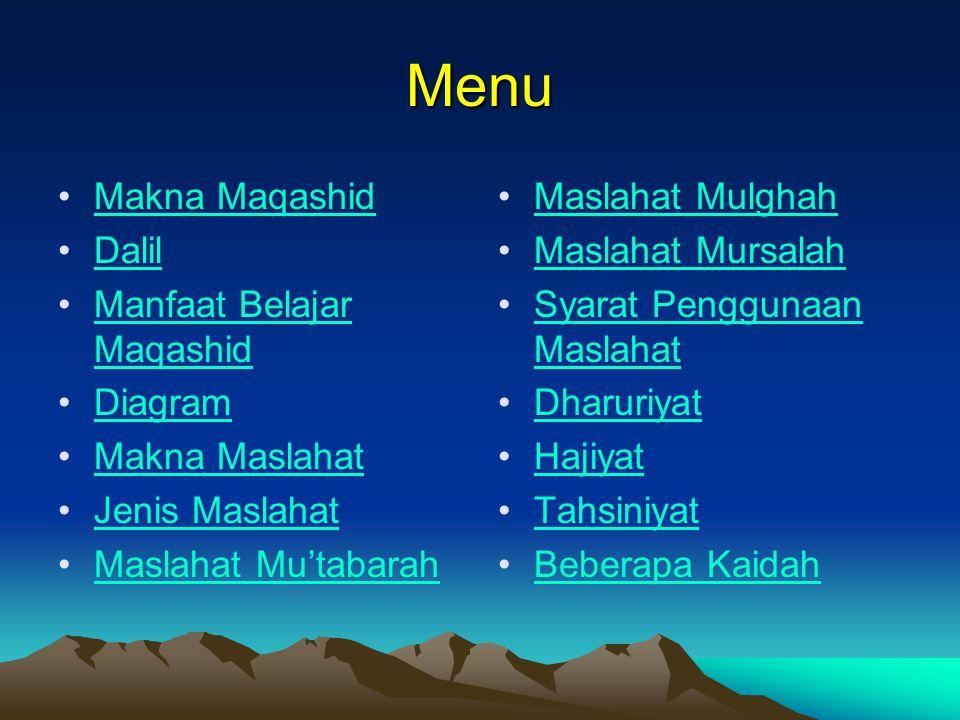 Menu Makna MaqashidMakna Maqashid Dalil Manfaat Belajar MaqashidManfaat Belajar Maqashid Diagram Makna Maslahat Jenis Maslahat Maslahat Mu'tabarah Mas