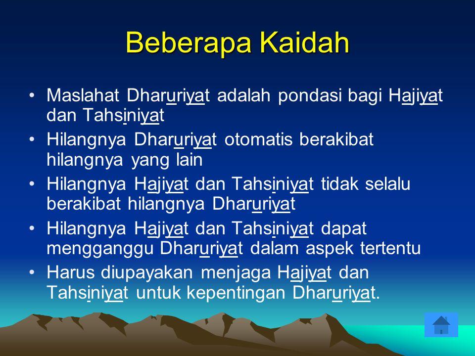 Beberapa Kaidah Maslahat Dharuriyat adalah pondasi bagi Hajiyat dan Tahsiniyat Hilangnya Dharuriyat otomatis berakibat hilangnya yang lain Hilangnya H