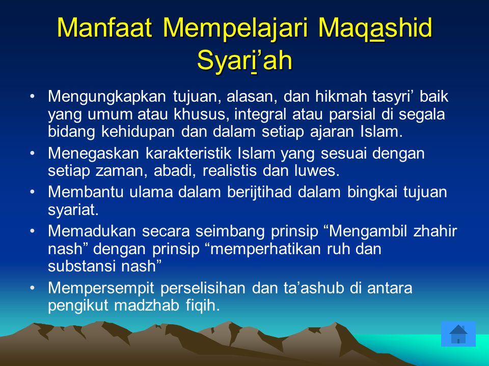 Manfaat Mempelajari Maqashid Syari'ah Mengungkapkan tujuan, alasan, dan hikmah tasyri' baik yang umum atau khusus, integral atau parsial di segala bid