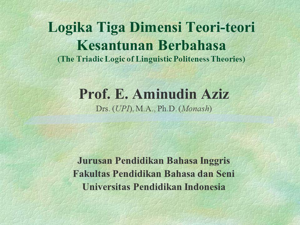 Logika Tiga Dimensi Teori-teori Kesantunan Berbahasa (The Triadic Logic of Linguistic Politeness Theories) Prof. E. Aminudin Aziz Drs. (UPI), M.A., Ph