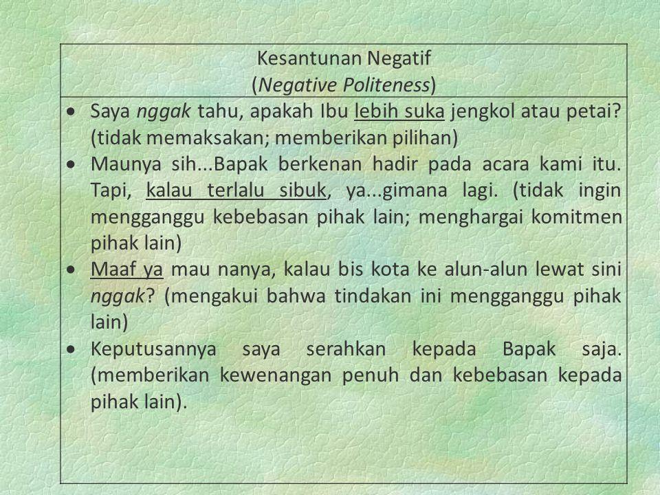 Kesantunan Negatif (Negative Politeness)  Saya nggak tahu, apakah Ibu lebih suka jengkol atau petai? (tidak memaksakan; memberikan pilihan)  Maunya