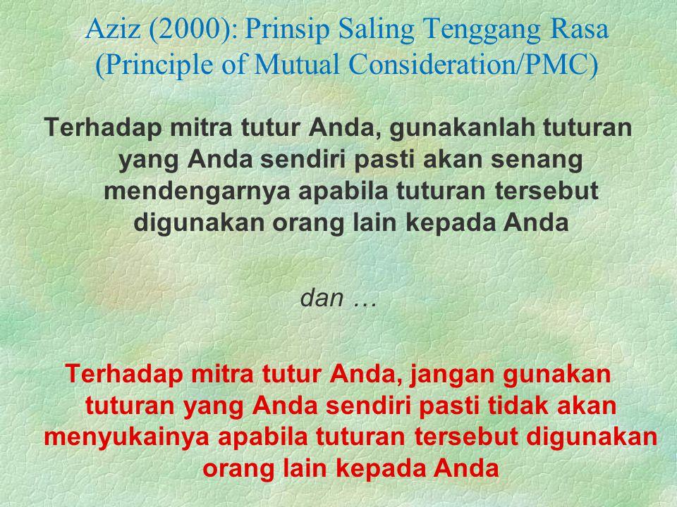 Aziz (2000): Prinsip Saling Tenggang Rasa (Principle of Mutual Consideration/PMC) Terhadap mitra tutur Anda, gunakanlah tuturan yang Anda sendiri past