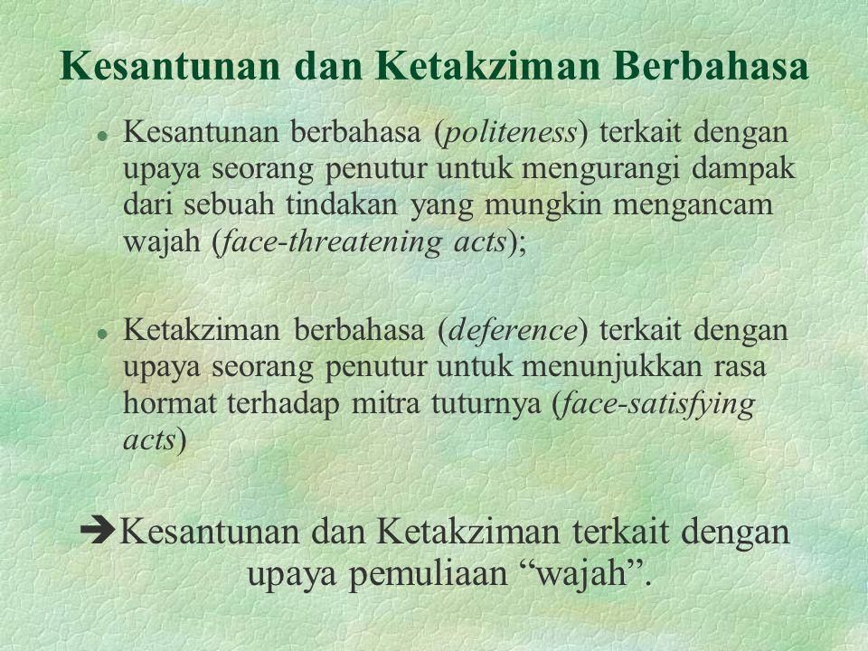 Kesantunan dan Ketakziman Berbahasa l Kesantunan berbahasa (politeness) terkait dengan upaya seorang penutur untuk mengurangi dampak dari sebuah tinda