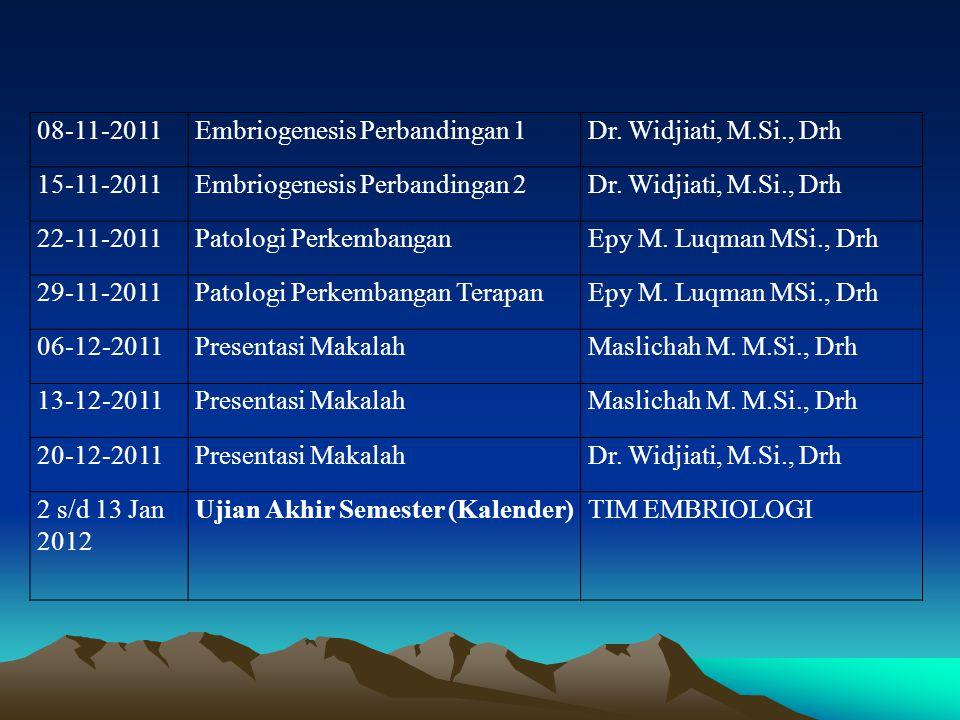 08-11-2011Embriogenesis Perbandingan 1Dr. Widjiati, M.Si., Drh 15-11-2011Embriogenesis Perbandingan 2Dr. Widjiati, M.Si., Drh 22-11-2011Patologi Perke
