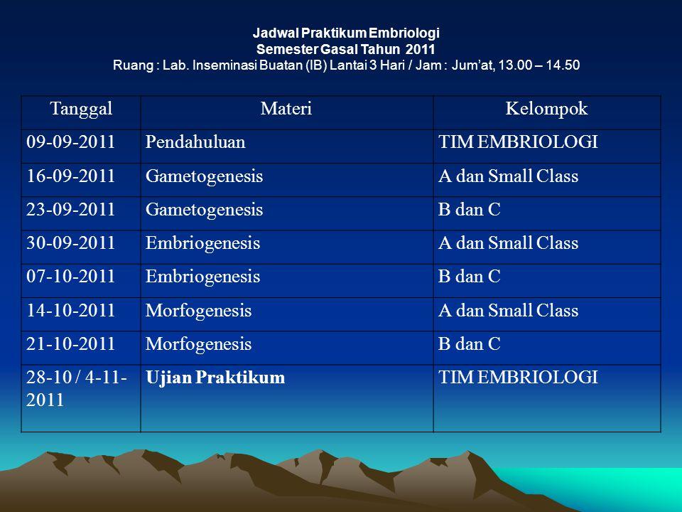 Jadwal Praktikum Embriologi Semester Gasal Tahun 2011 Ruang : Lab. Inseminasi Buatan (IB) Lantai 3 Hari / Jam : Jum'at, 13.00 – 14.50 TanggalMateriKel