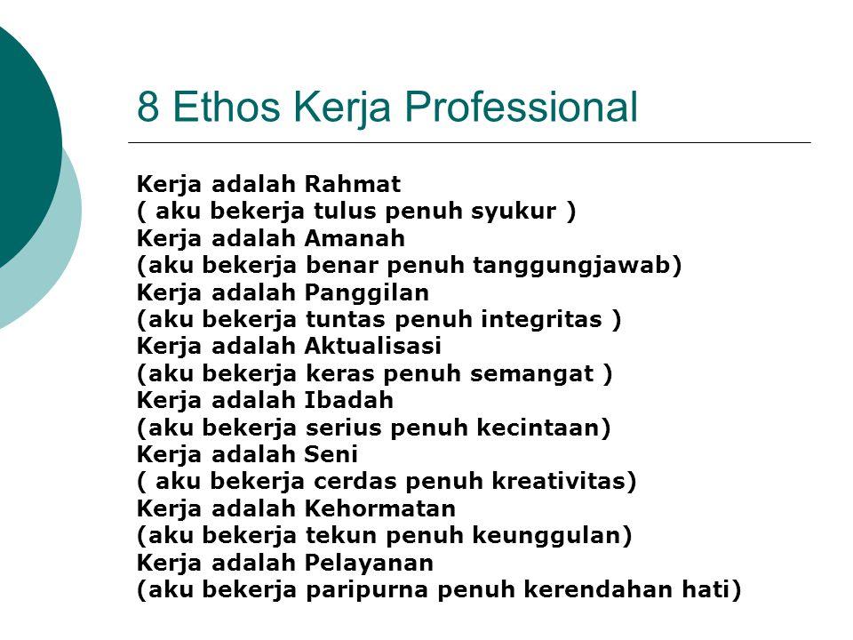 8 Ethos Kerja Professional Kerja adalah Rahmat ( aku bekerja tulus penuh syukur ) Kerja adalah Amanah (aku bekerja benar penuh tanggungjawab) Kerja ad