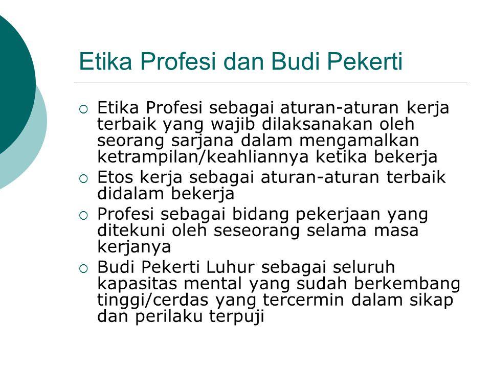 Etika Profesi dan Budi Pekerti  Etika Profesi sebagai aturan-aturan kerja terbaik yang wajib dilaksanakan oleh seorang sarjana dalam mengamalkan ketr